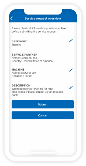 Ecoclean Service-App - Service requests